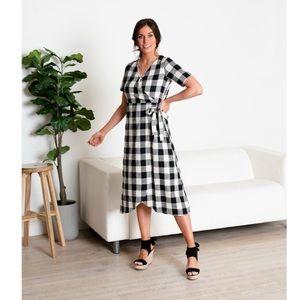 SWEETSALT Faux Wrap Tie Midi Modest Dress